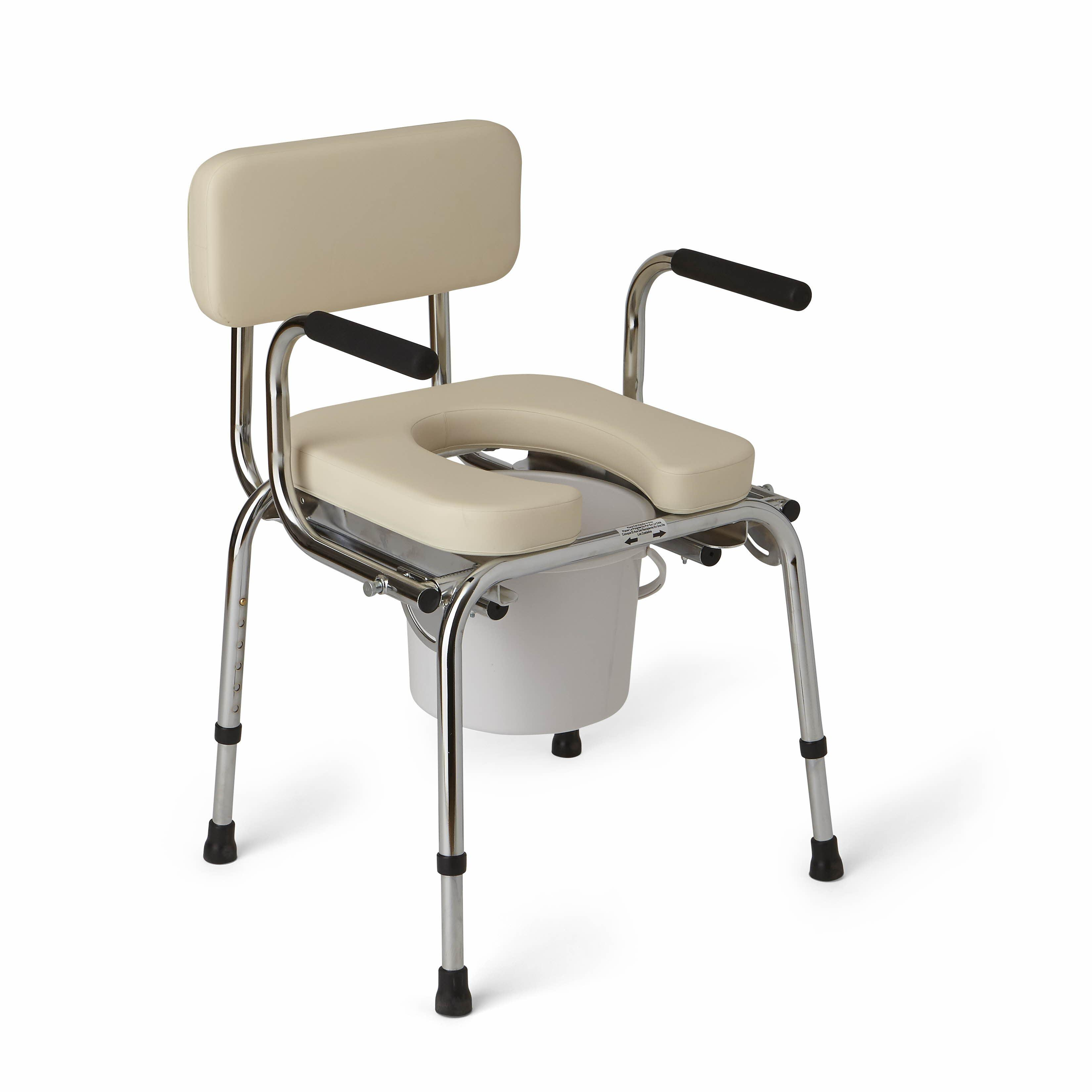 handicap potty chair cane dining amazon medline drop arm commode padded health