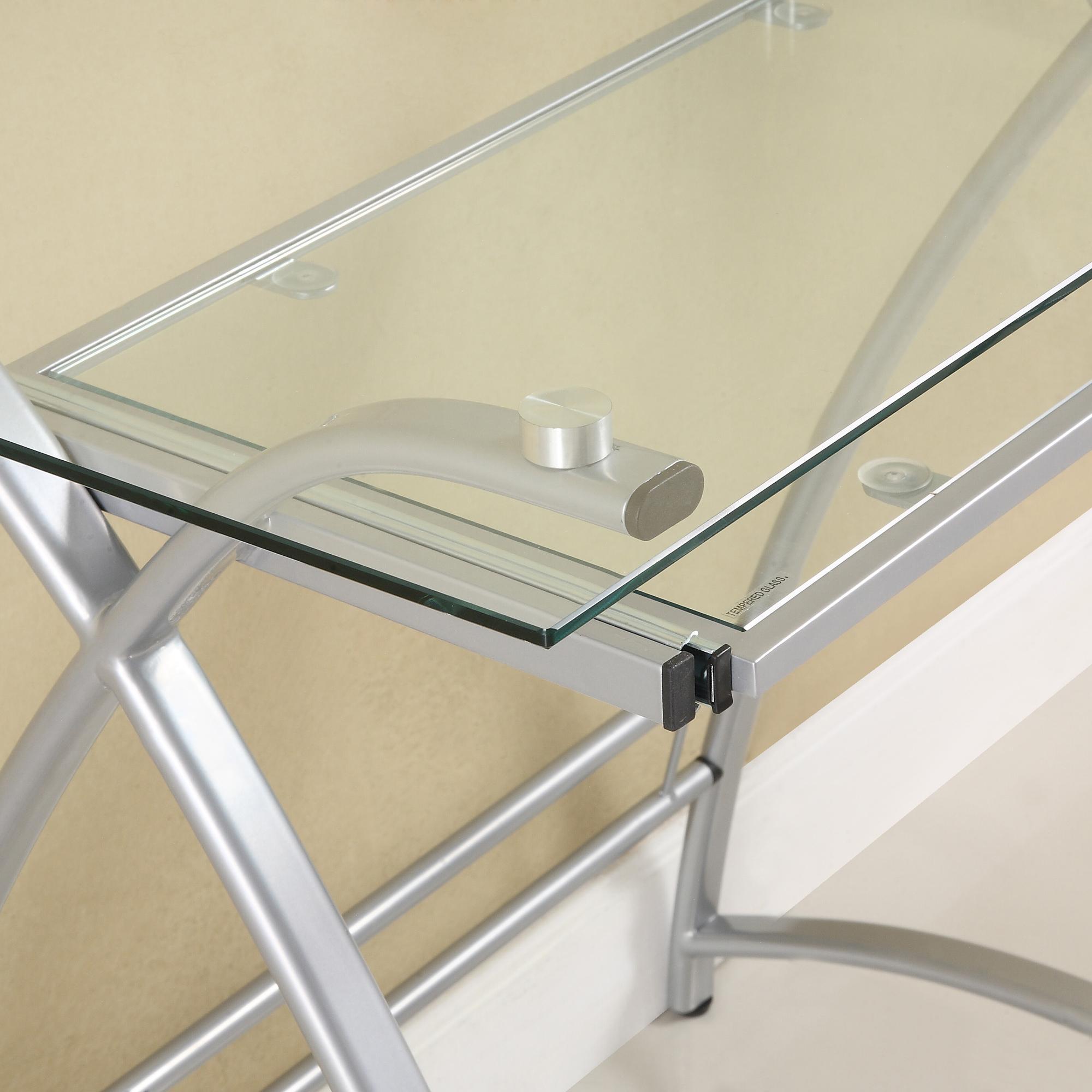 Amazoncom Glass Metal Black Corner Computer Desk