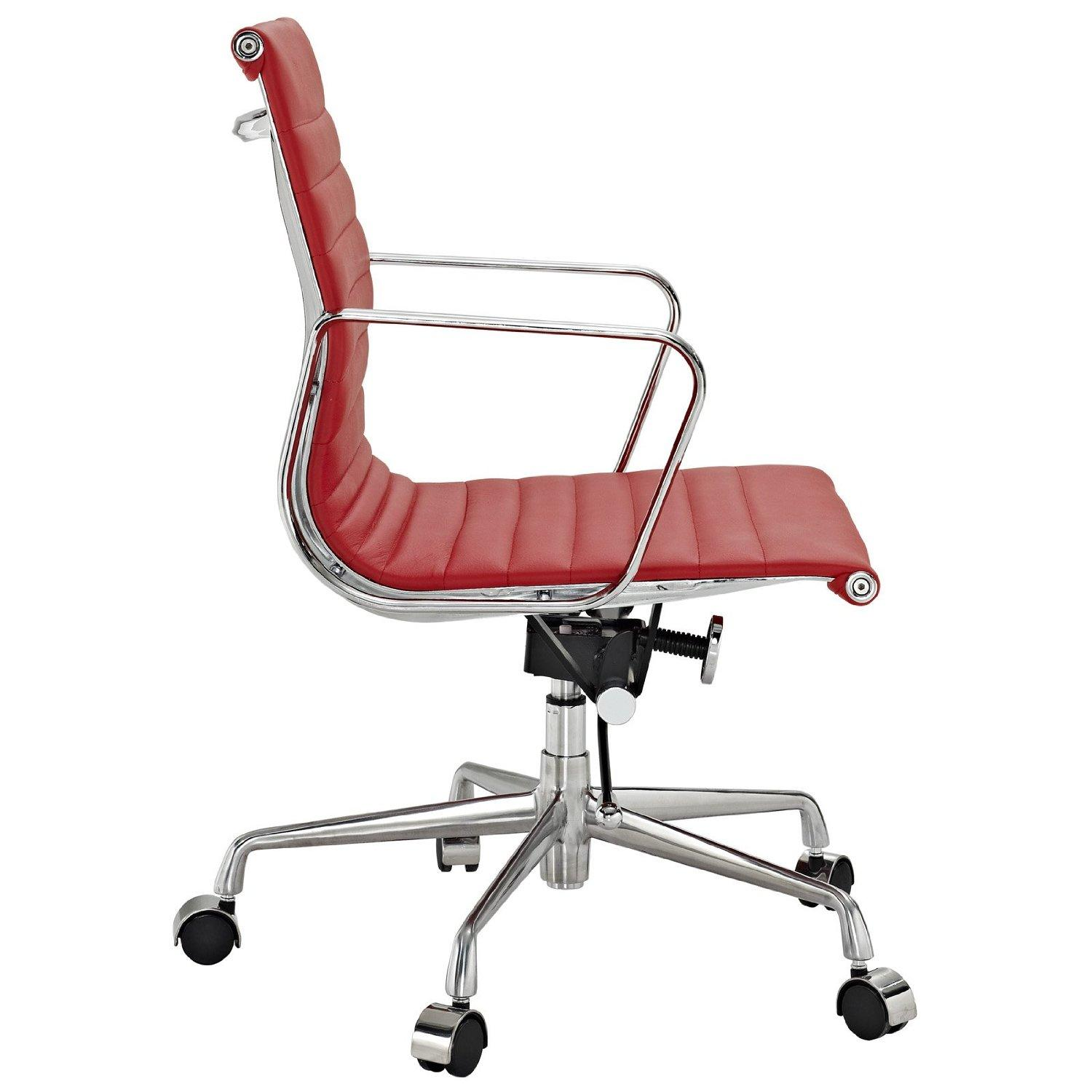 Genuine Leather Office Chair Amazon Lexmod Ribbed Mid Back Office Chair In Red