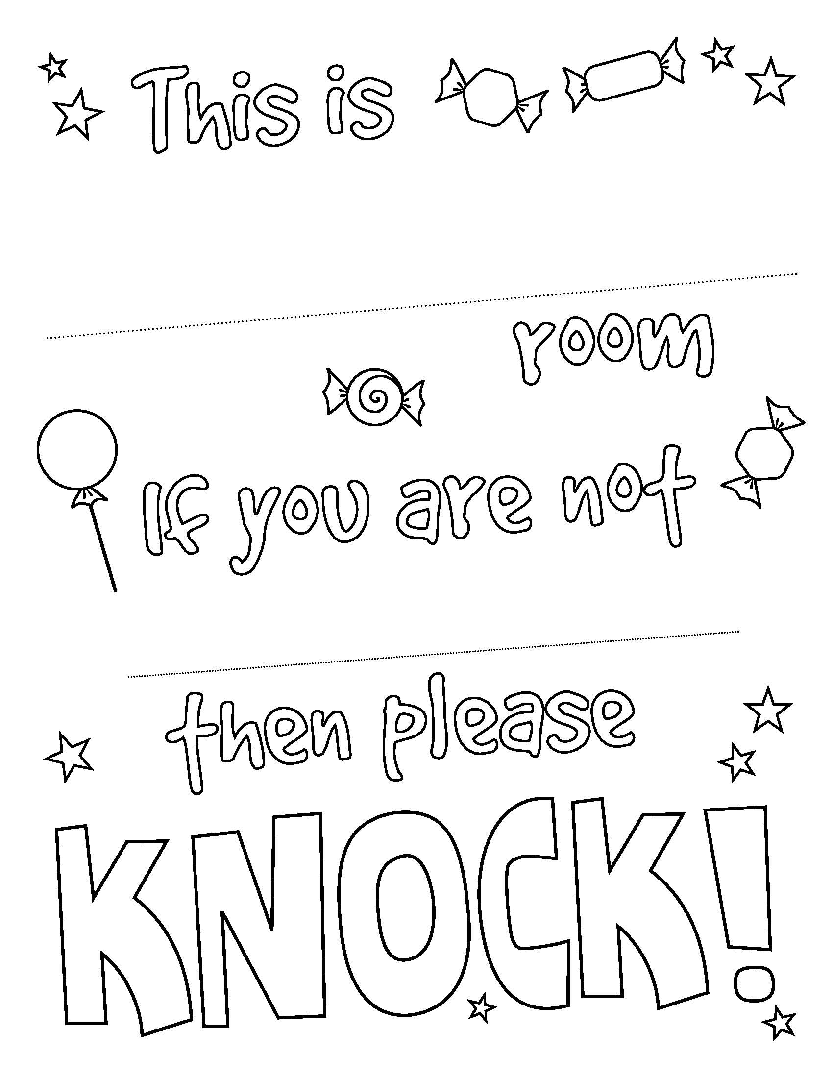 Please Knock Coloring Coloring Pages Coloring Pages