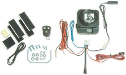 Box contents of the Gorilla Automotive 7007 Motorcycle Alarm with Remote Transmitter