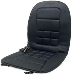 Front view of the Wagan IN9738-5 Heated Seat Cushion showing the DC power adapter