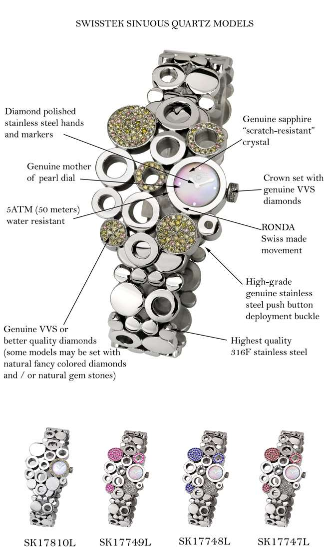 Swisstek SK17749L Limited Edition Swiss Diamond Watch with