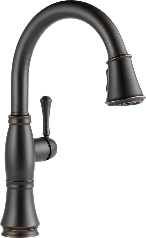 single handle kitchen faucet with sprayer rooster decor delta 9197-ar-dst cassidy, pull down ...
