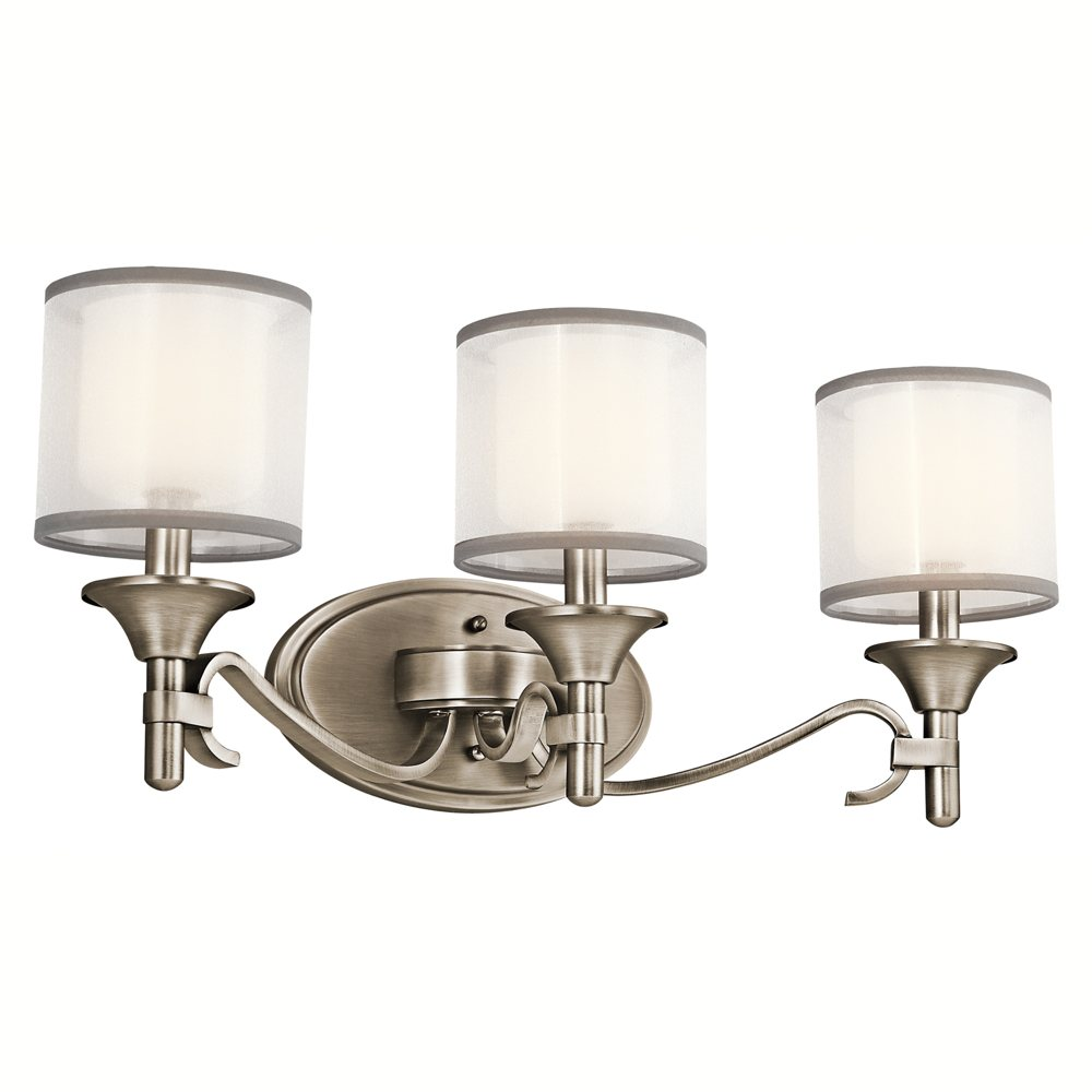45283AP Lacey 3LT Vanity Fixture Antique Pewter Finish with White Organza Fabric  Etched Opal