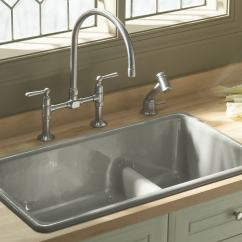 Kitchen Sink Undermount Tables Cheap Kohler K 6625 Iron Tones Smart Divide Self Rimming Or