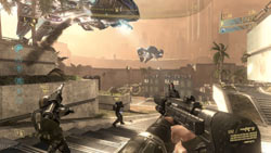 Firefight multiplayer mode from first-person perspective in 'Halo 3: ODST'