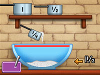 Measuring cup game that teaches basic fractions from Dora's Cooking Club