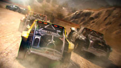 Cars racing in the desert in 'DiRT 2'