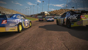 Tuned cars going into a turn in NASCAR The Game 2011