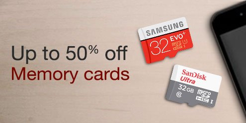 Amazon Loot on Memory Cards 50% Off on 16GB 32 GB