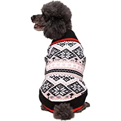Blueberry Pet Holiday Season Nordic Fair Isle Snowflake Dog Sweater