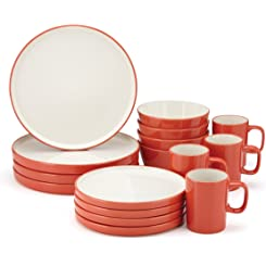 Food & Wine For Gorham Modern Farmhouse 16 Piece Dinnerware Set, Flame