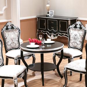round black kitchen table decore 欧式餐桌实木圆桌新古典餐桌椅组合圆形家具饭桌子黑色餐桌子现货 阿里 淘宝