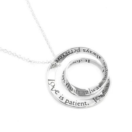 Love Is Patient Double Mobius Necklace, Sterling