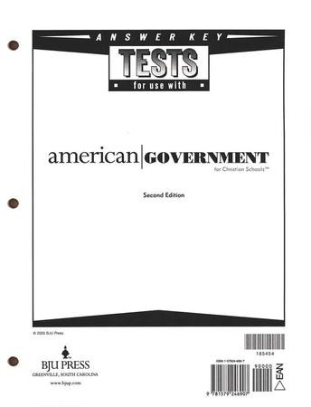 BJU American Government Tests Answer Key, Grade 12