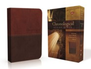 NKJV Chronological Study Bible--soft leather-look, earth brown/auburn  -