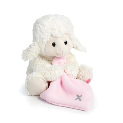 Plush Jesus loves me lamb with pink blanket