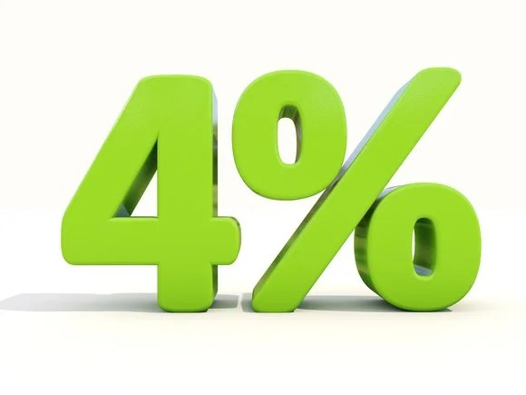 """""""4%"""" represented as 3-D characters in green"""
