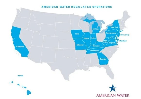 US map showing the states in which the company has regulated businesses: These are all in the Eastern half of the country, except for California and Hawaii.