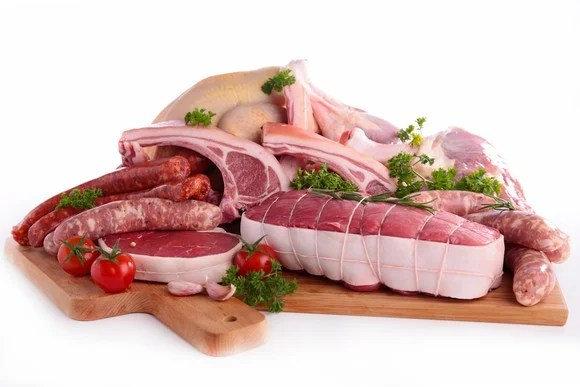 Various raw meat products