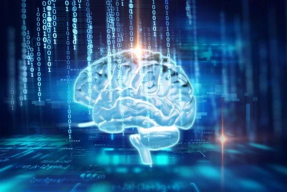AI concept -- human brain on a technology background.
