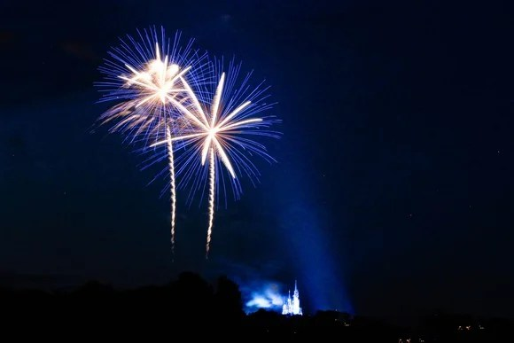 Fireworks in the sky, with Disney castle in the distance.