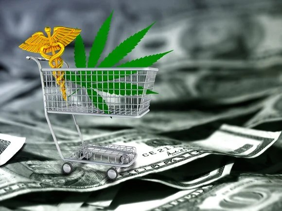 Shopping cart with caduceus and marijuana leaf on top of pile of cash.