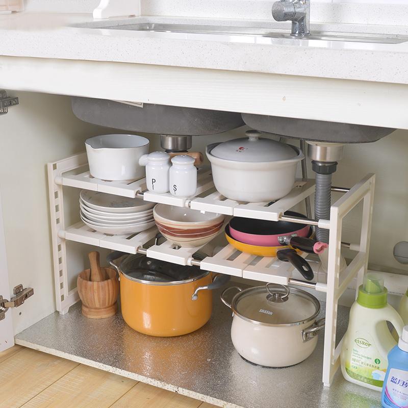 kitchen sink rack custom knives 厨房橱柜收纳架下水槽置物架不锈钢管 可伸缩多用途储物架子 tmall com天猫 厨房水槽架