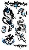 18元包郵/防水/紋身貼紙/龍圖騰/大圖/男/龍紋身貼/中文龍刺青貼