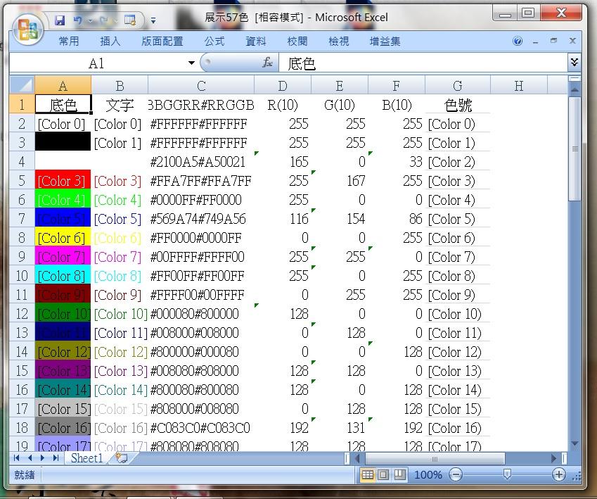 [Excel VBA] ColorIndex 之 57 色演色表 (實際展示) - 返回 最初的純真性情 - udn部落格