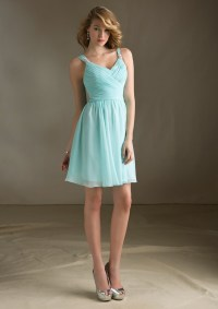 Elegant Short Light Blue Bridesmaid Dresses Turquoise V ...