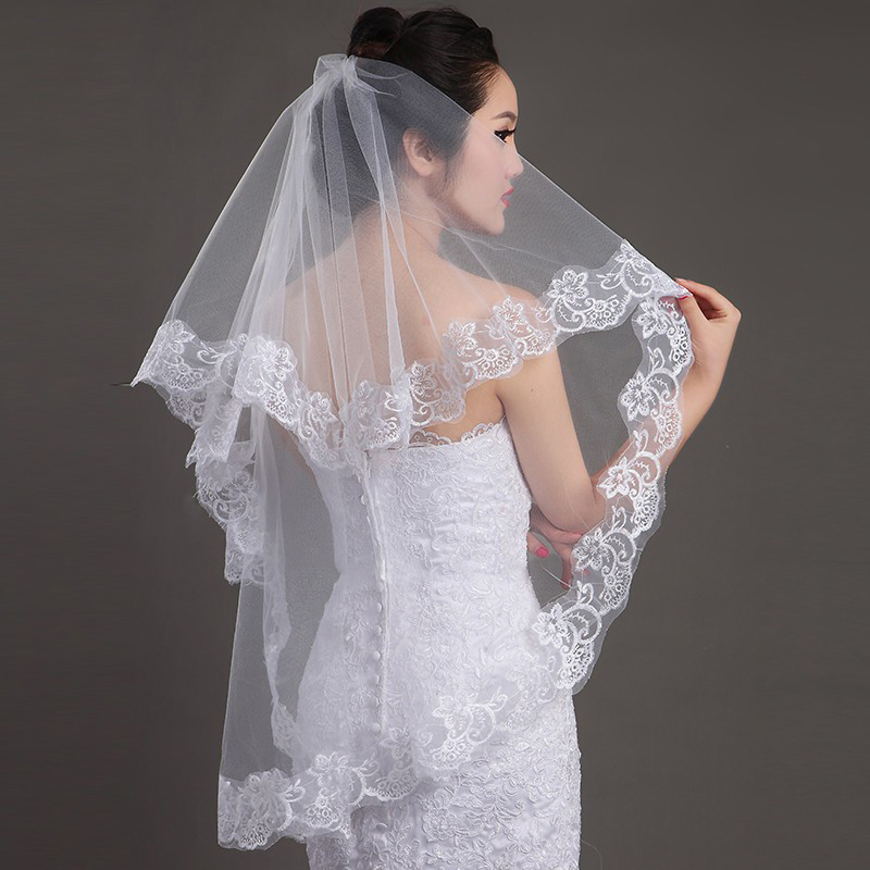 in Stock High Quality Cheap Wedding Veils Accessories Short Wedding Veils WhiteIvory One Layer