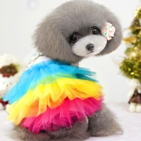 Rainbow cute girl pet dog clothes apparel spring summer ...
