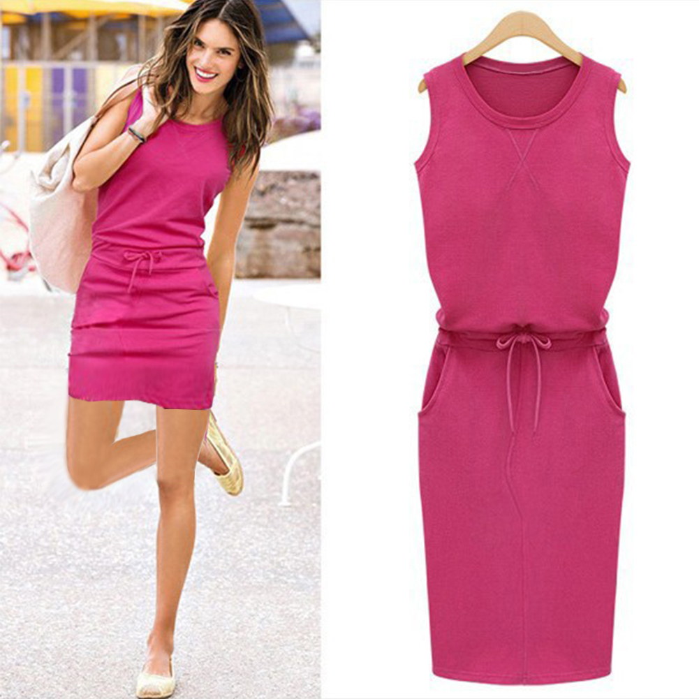 Color puro Patchwork Shift Vestidos verano mujeres de moda damas ...
