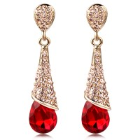 female fashion earring long design red crystal the bride ...
