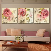 3 Piece Wall Art Painting Classic Flower Rose Canvas ...