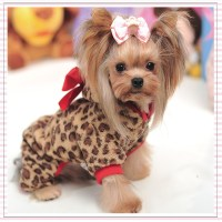 Red Leopard Fleece Pet Small Dog Coat Dog Clothes for