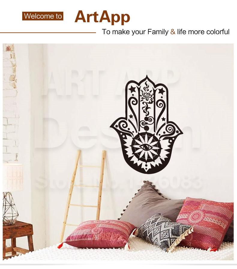 Art new design cheap home decoration religion hamsa hand wall sticker  removable vinyl house decor Arabian Fatima decals in rooms
