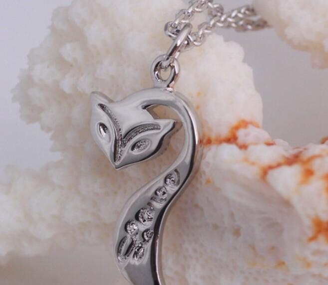 48c180c44964 100% plata 925 AAA Juegos de joyería para las mujeres Fox collar + earring  + pulsera plata sólida envío libre jn27je42jb19w