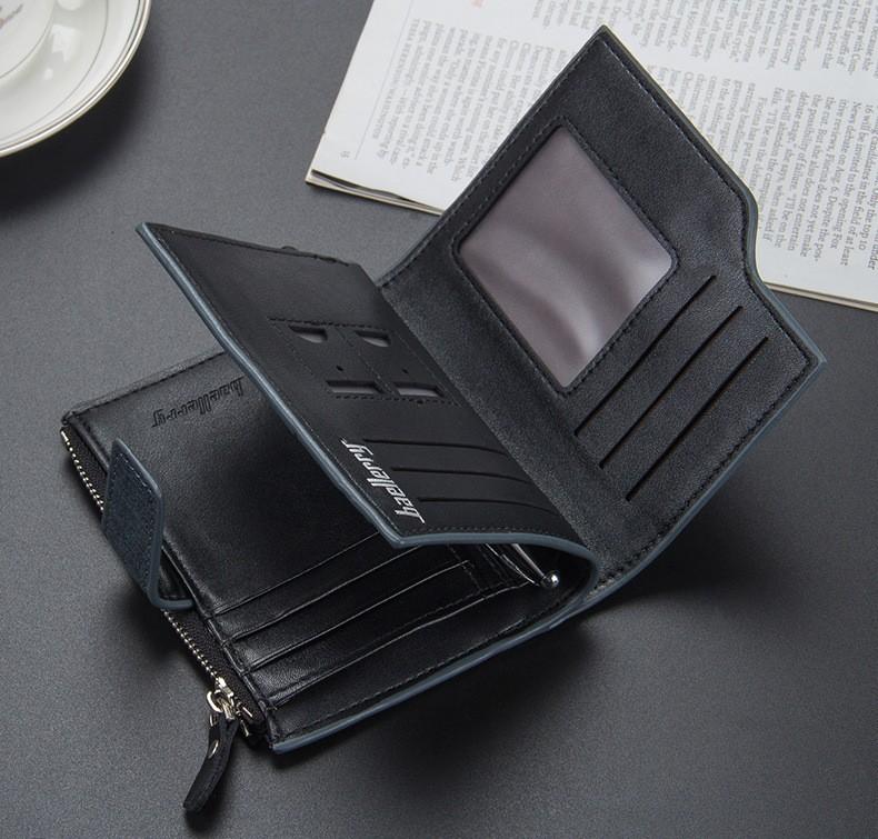 Homme Luxe 100/% Authentique deux volets en cuir portefeuille avec fermeture éclair argent poche monnaie