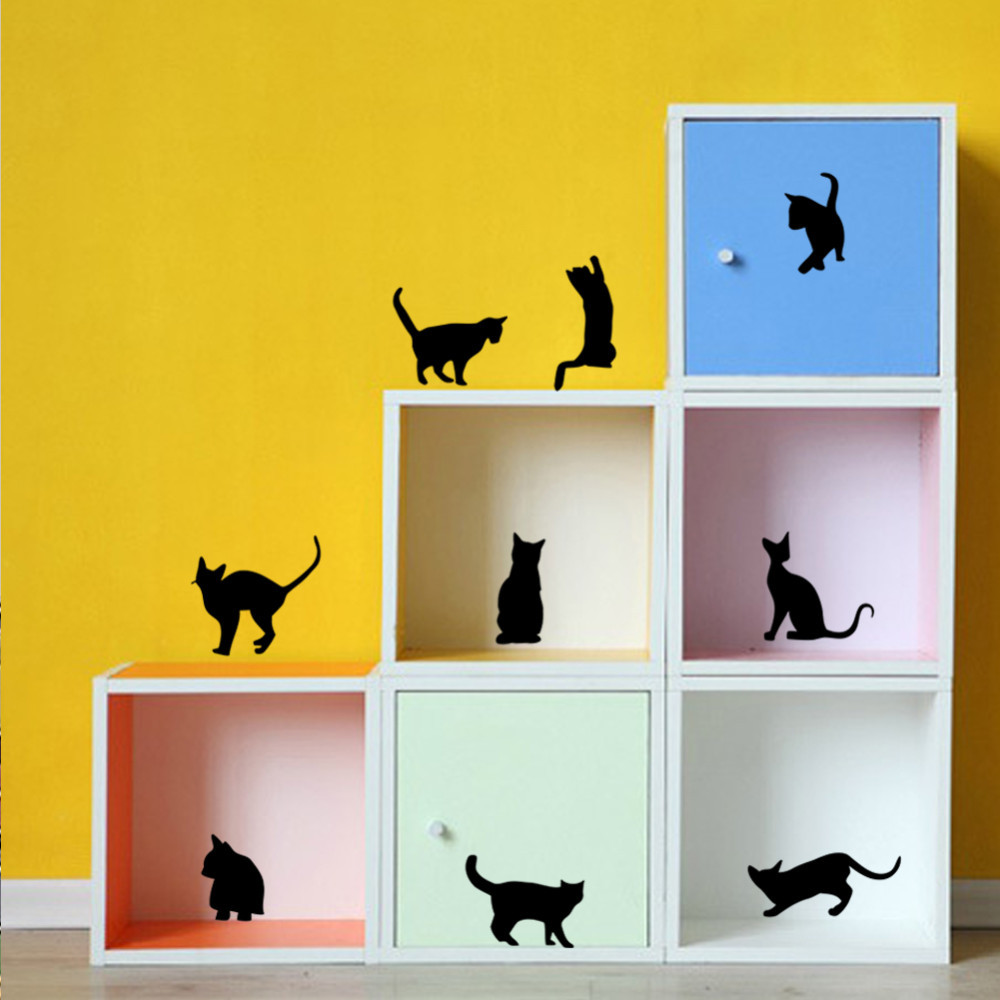 ᐅDIY Funny Cat Wall Stickers Home Decoration Bedroom Living room ...