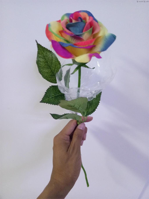 15 Pcs Single Stem Fake Colorful Silk Flower Artificial Rainbow Rose
