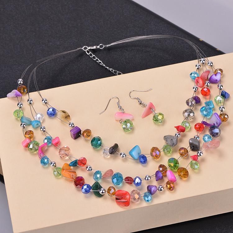 f39847bc0069 Las nuevas mujeres de moda Bohemia Conchas azul blanco cristal perlas  collares de múltiples capas + Pendientes multicapa boda Juegos de joyería  (js0044)