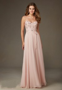Chiffon-Long-Blush-Pink-Bridesmaid-Dresses-2016-Sweetheart ...
