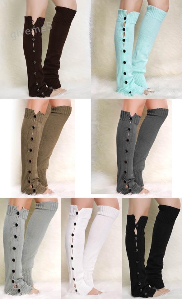 ̿̿̿(•̪ )Punto Calentadores para piernas para las mujeres botón ...