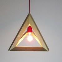 Novelty E27 Retro Wood pyramid Triangle Pendant Light ...