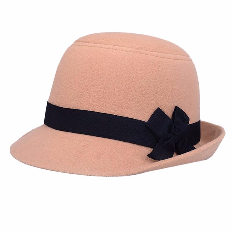 ⊹Mujeres retro Girl bowknot playa Fieltro lana Fedora sombreros ... 7cd44431c390