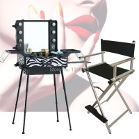 High quality lighting makeup case with portable chair ...