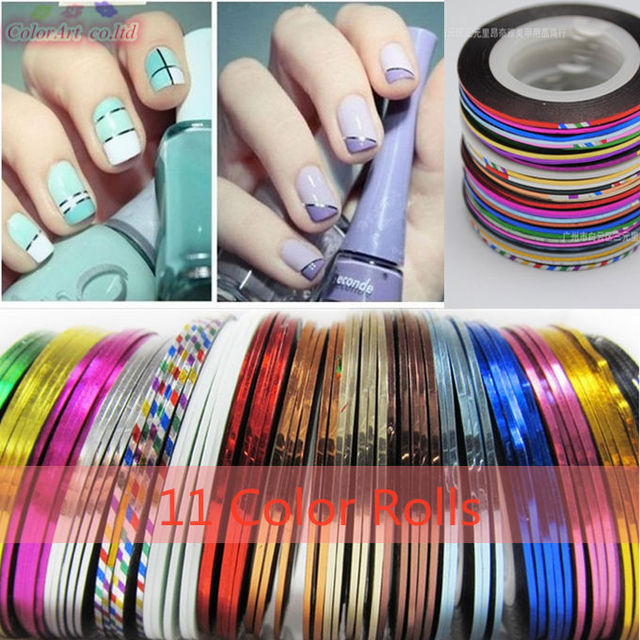 6pcs Chevron Nail Vinyls Striping Tape Colorful Art Line Stickers Lines